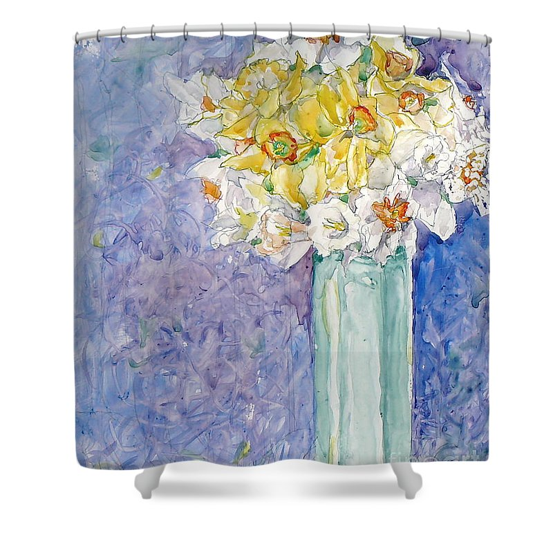 Watercolor Shower Curtain featuring the painting Spring Blossoms by Jan Bennicoff