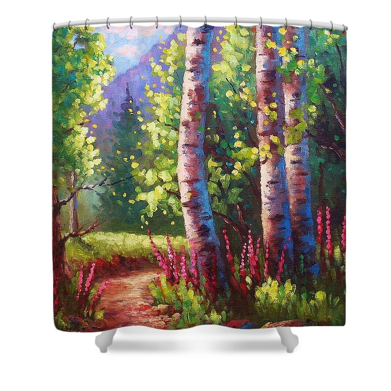 Aspen Shower Curtain featuring the painting Spring Path by David G Paul