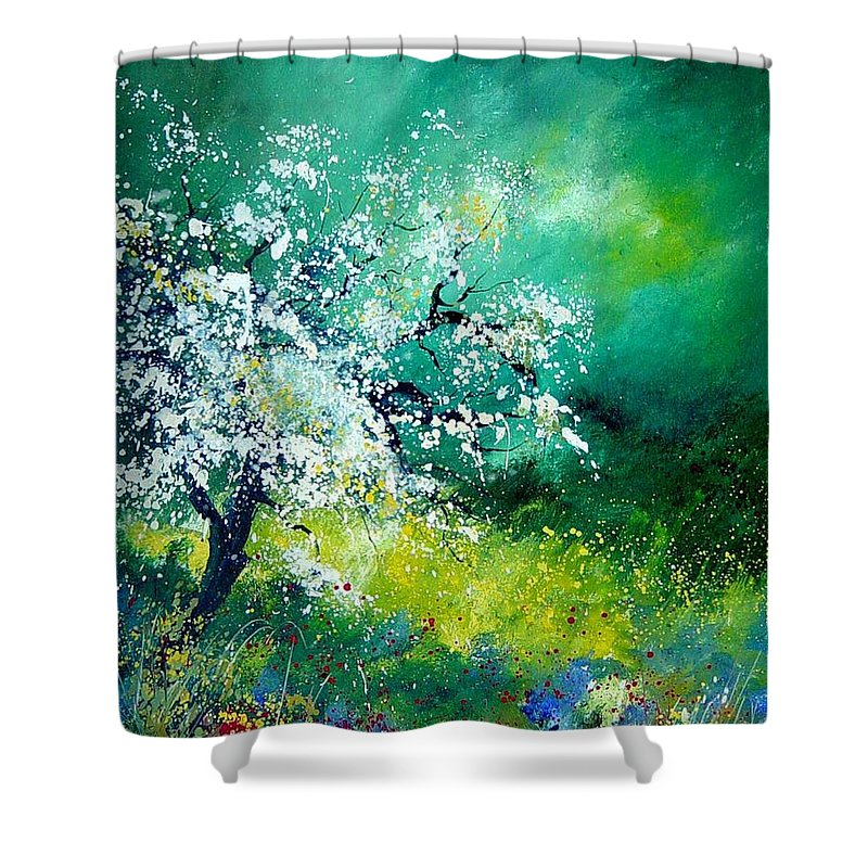 Flowers Shower Curtain featuring the painting Spring by Pol Ledent