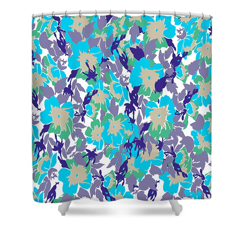 Floral Shower Curtain featuring the digital art  Spring Summer Flowers In Vintage Style. Seasons Floral Pattern by Svetlana Corghencea
