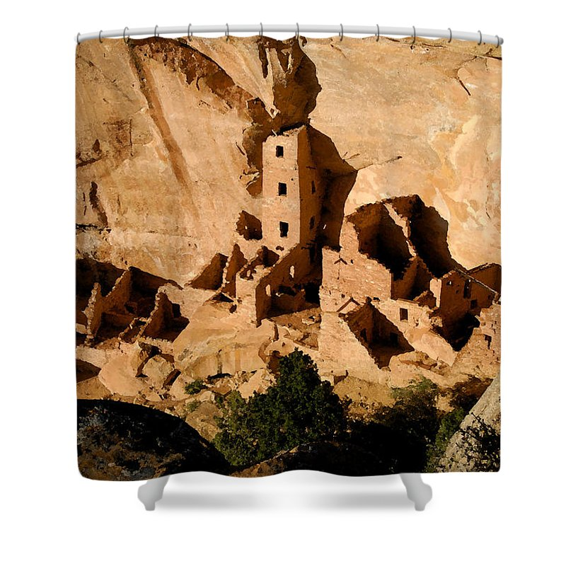 Square Tower Ruin Shower Curtain featuring the painting Square Tower Ruin by David Lee Thompson