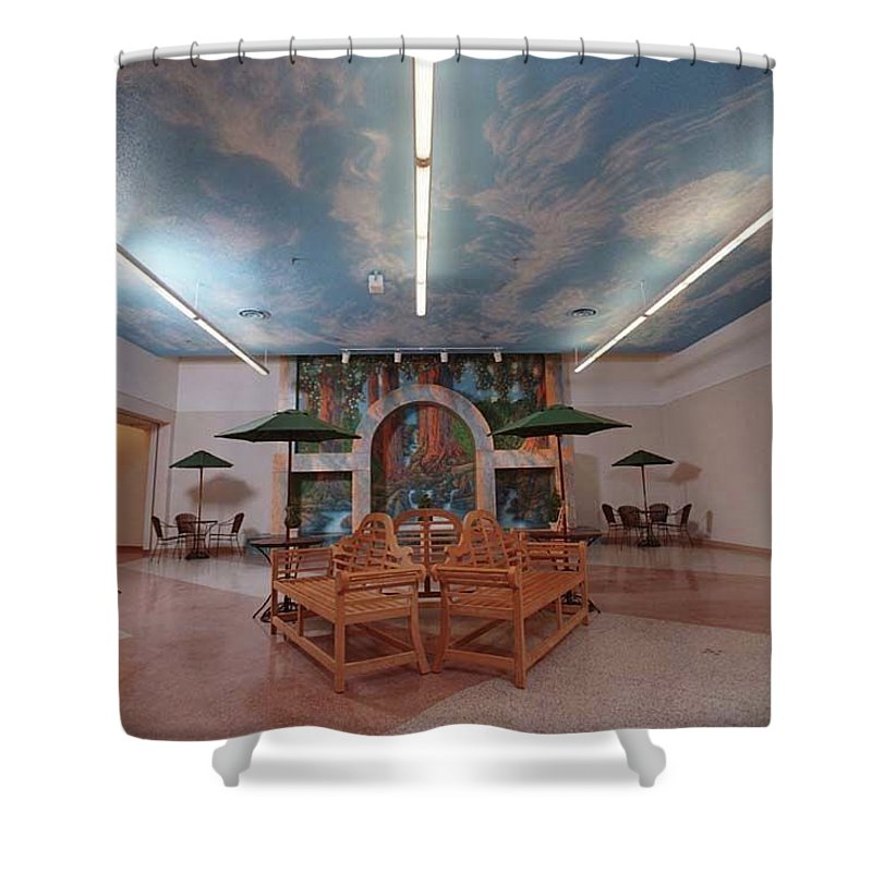 Shower Curtain featuring the painting St. Alexius Hospital, Gateway Mall, Bismarck, Nd by Wayne Pruse