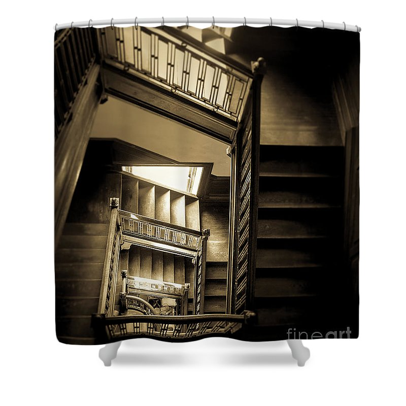 Swannanoa Mansion Shower Curtain featuring the photograph Staircase In Swannanoa Mansion by Jennifer Mitchell