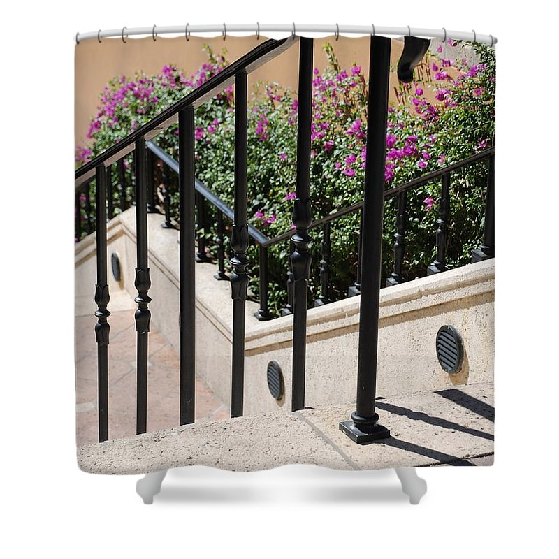 Stairs Shower Curtain featuring the photograph Stairs And Rails by Rob Hans