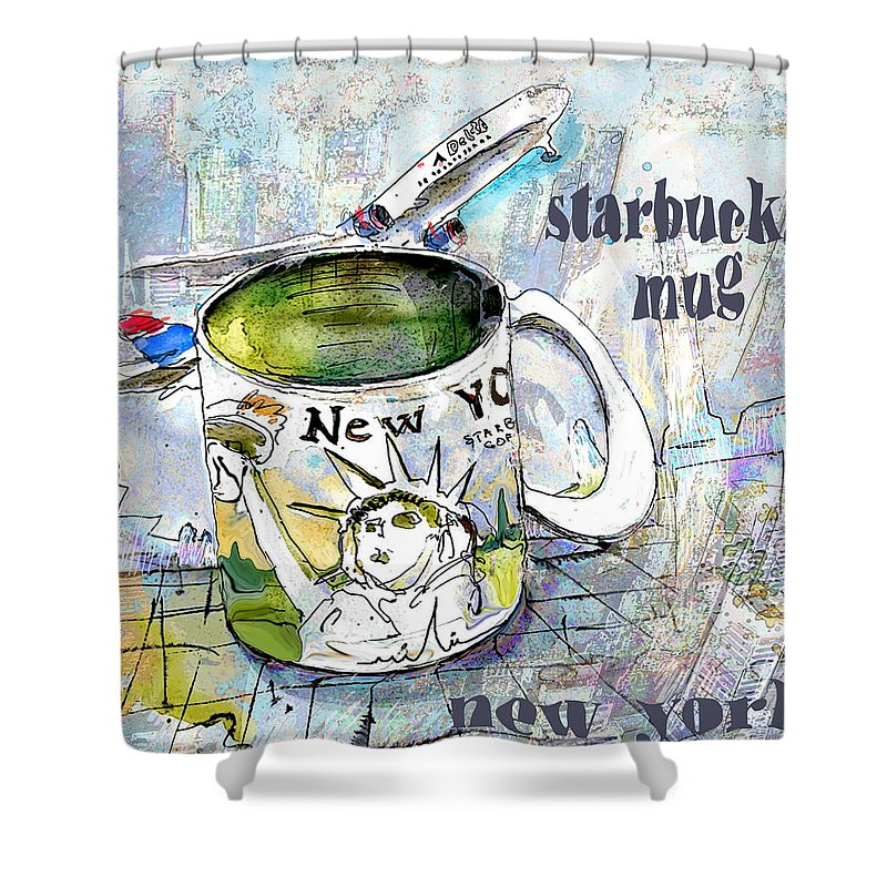 Mugs Art Shower Curtain featuring the painting Starbucks Mug New York by Miki De Goodaboom