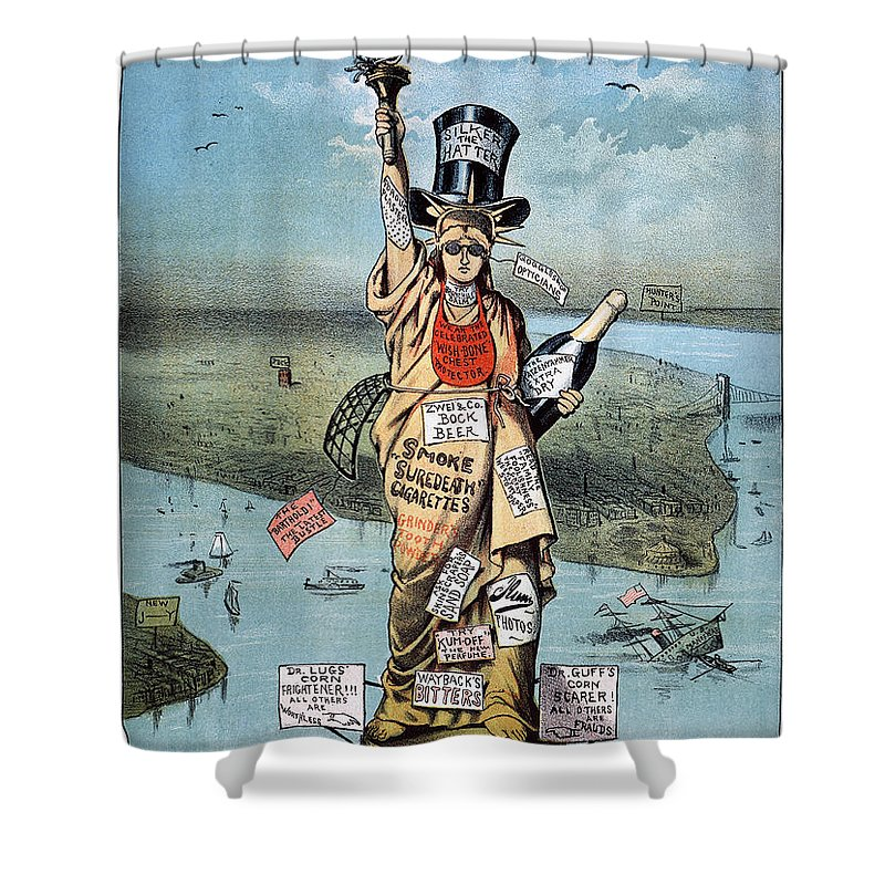 19th Century Shower Curtain featuring the photograph Statue Of Liberty Cartoon by Granger