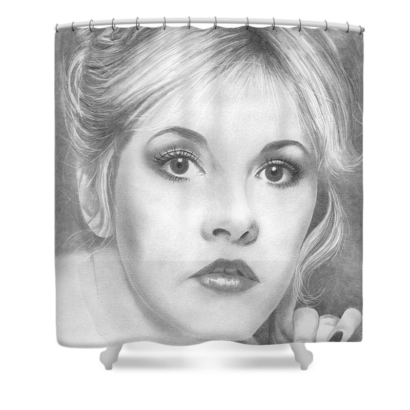Stevie Nicks Shower Curtain featuring the drawing Stevie Nicks by Karen Townsend