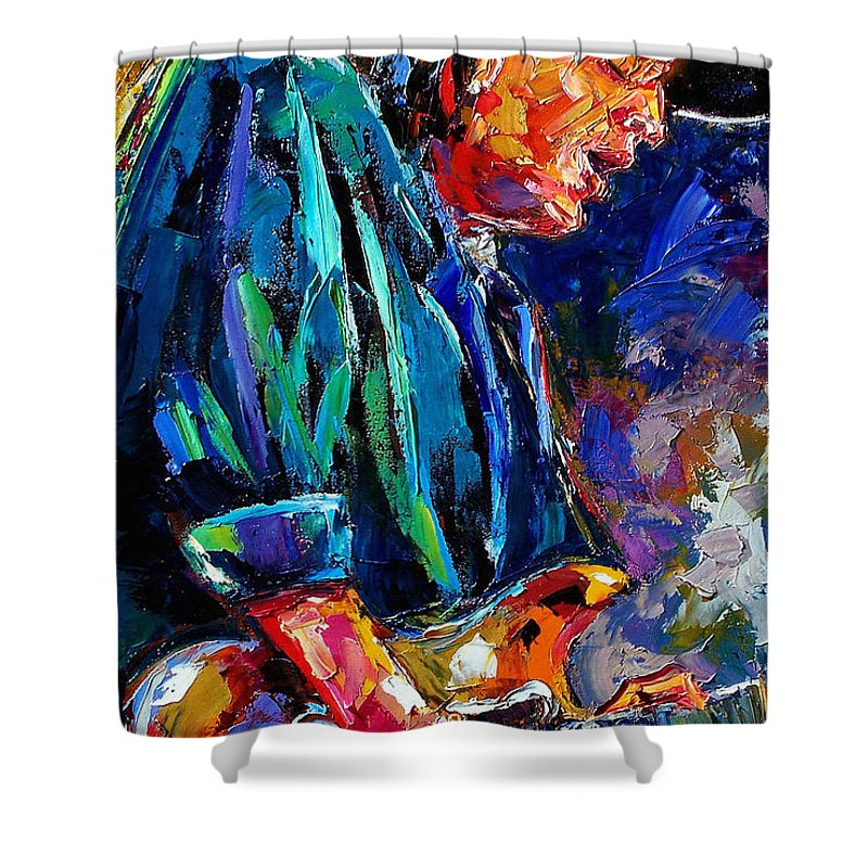 Stevie Ray Vaughan Shower Curtain featuring the painting Stevie Ray Vaughan by Debra Hurd