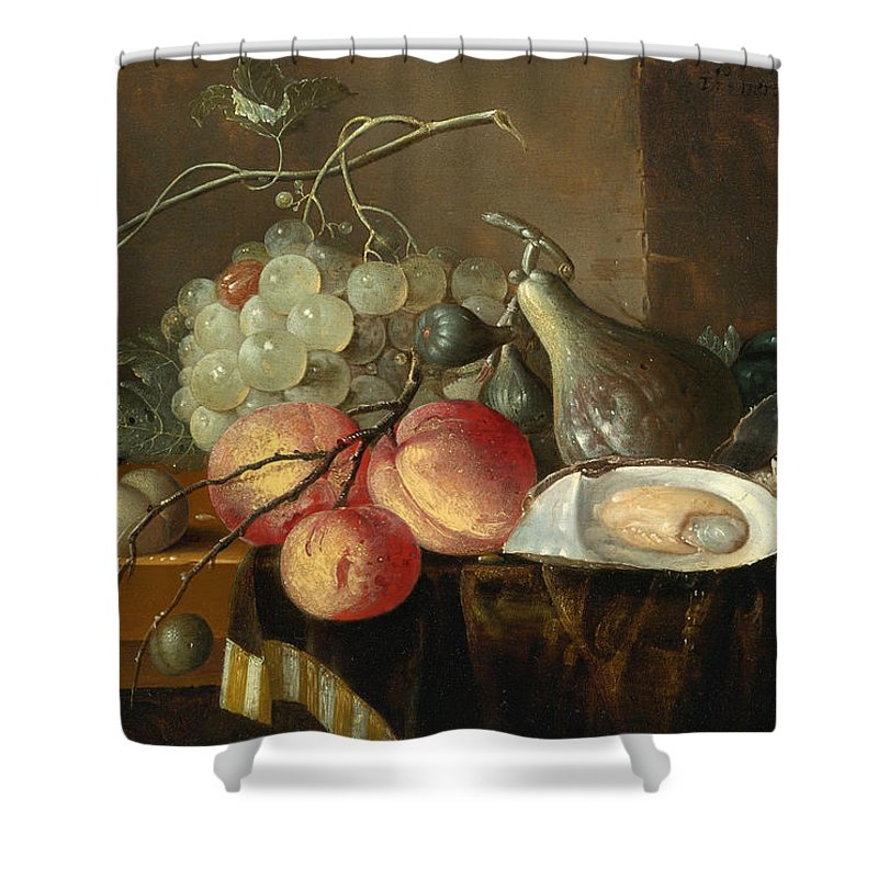 Thomas Mertens Shower Curtain featuring the painting Still Life With Fruit And Oysters On A Table by Thomas Mertens