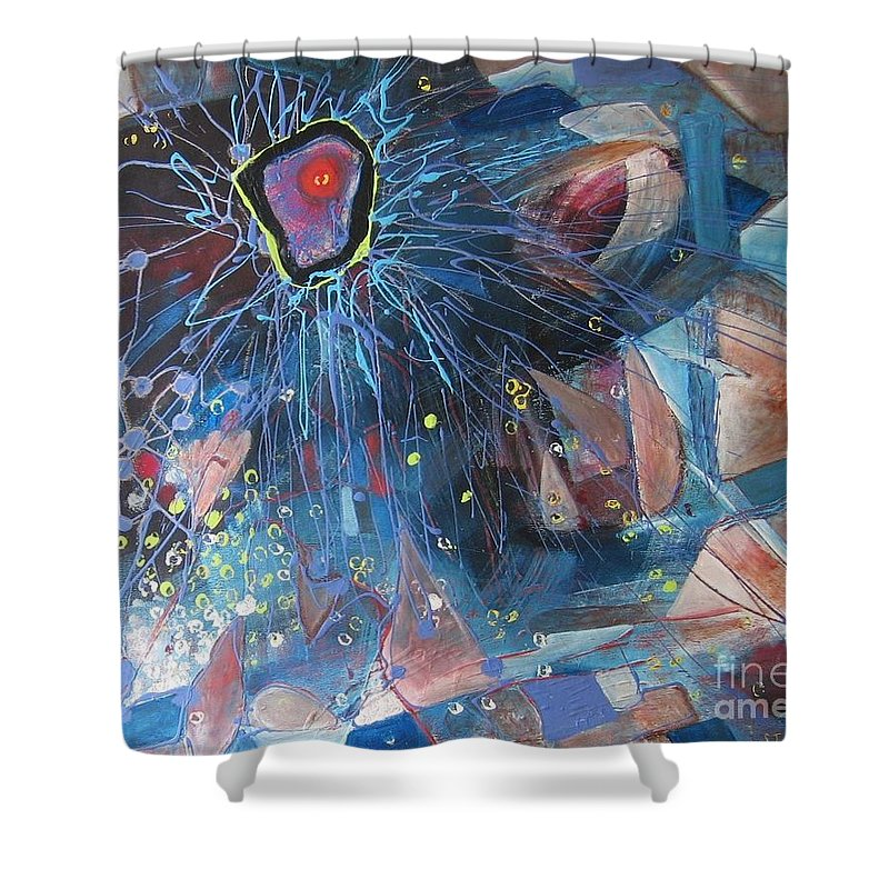 Abstract Paintings Shower Curtain featuring the painting Storm At Sea by Seon-Jeong Kim