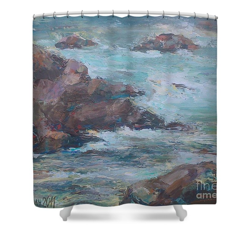 Storm Shower Curtain featuring the painting Stormy Sea Seascape by Angelina Nedin