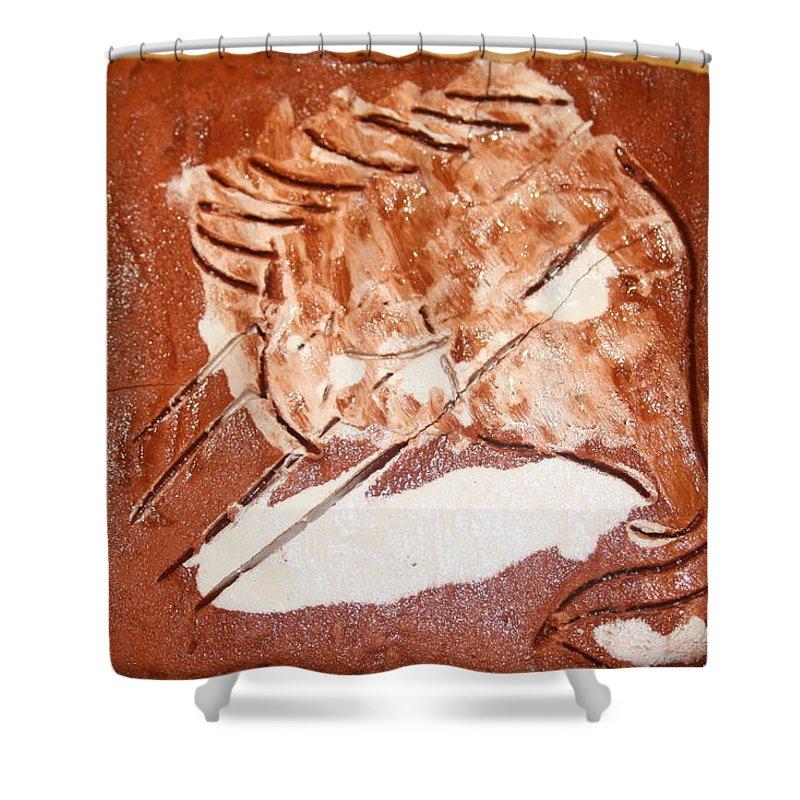 Jesus Shower Curtain featuring the ceramic art Stream - Tile by Gloria Ssali