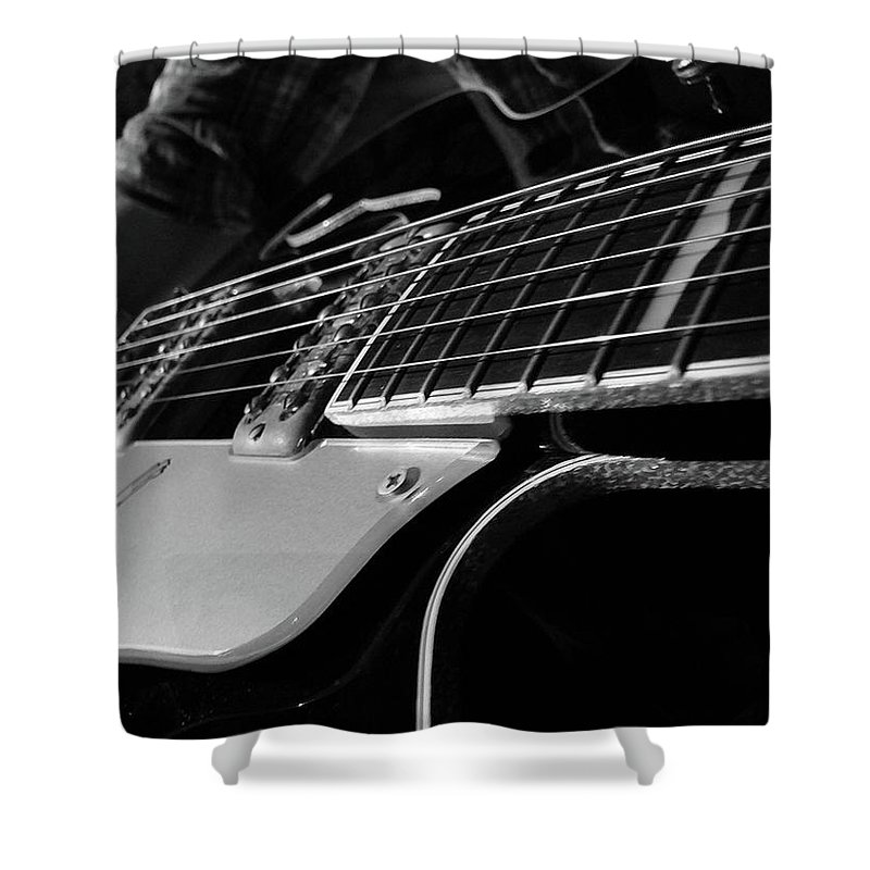 Black Shower Curtain featuring the photograph Strings by Angela Wright