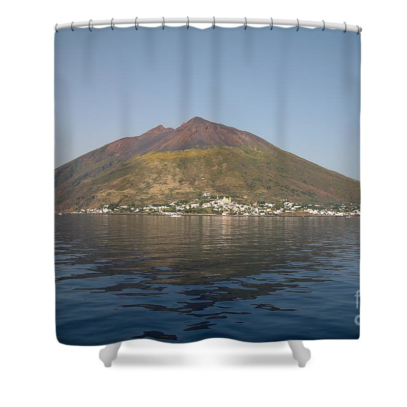 No People Shower Curtain featuring the photograph Stromboli Volcano, Aeolian Islands by Richard Roscoe