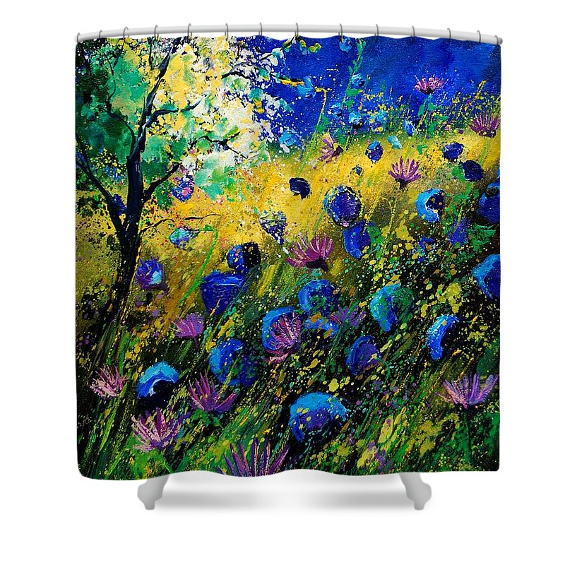 Poppies Shower Curtain featuring the painting Summer 450208 by Pol Ledent