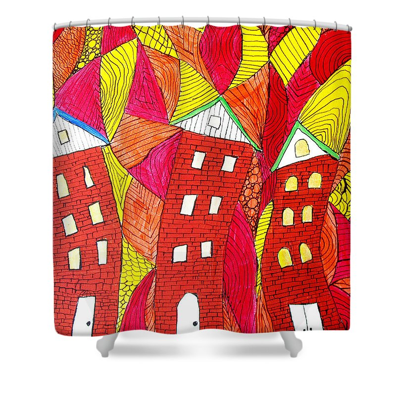 Houses Shower Curtain featuring the painting Summer In The City by Wayne Potrafka