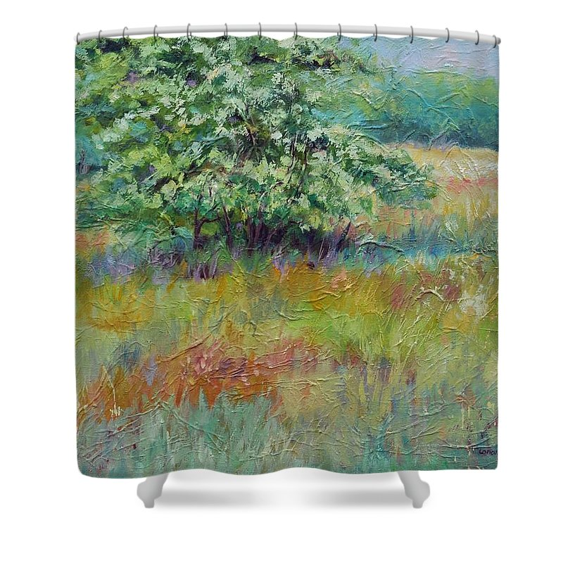 Summer Landscapes Shower Curtain featuring the painting SummerTree by Ginger Concepcion