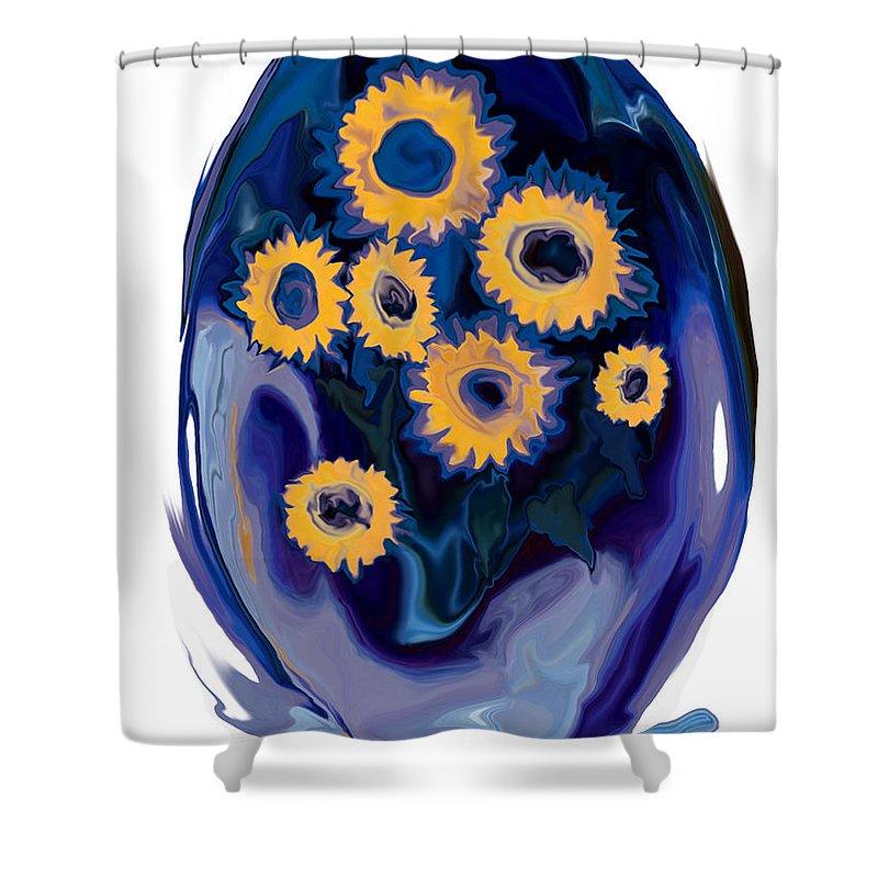 Art Shower Curtain featuring the digital art Sunflower 1 by Rabi Khan