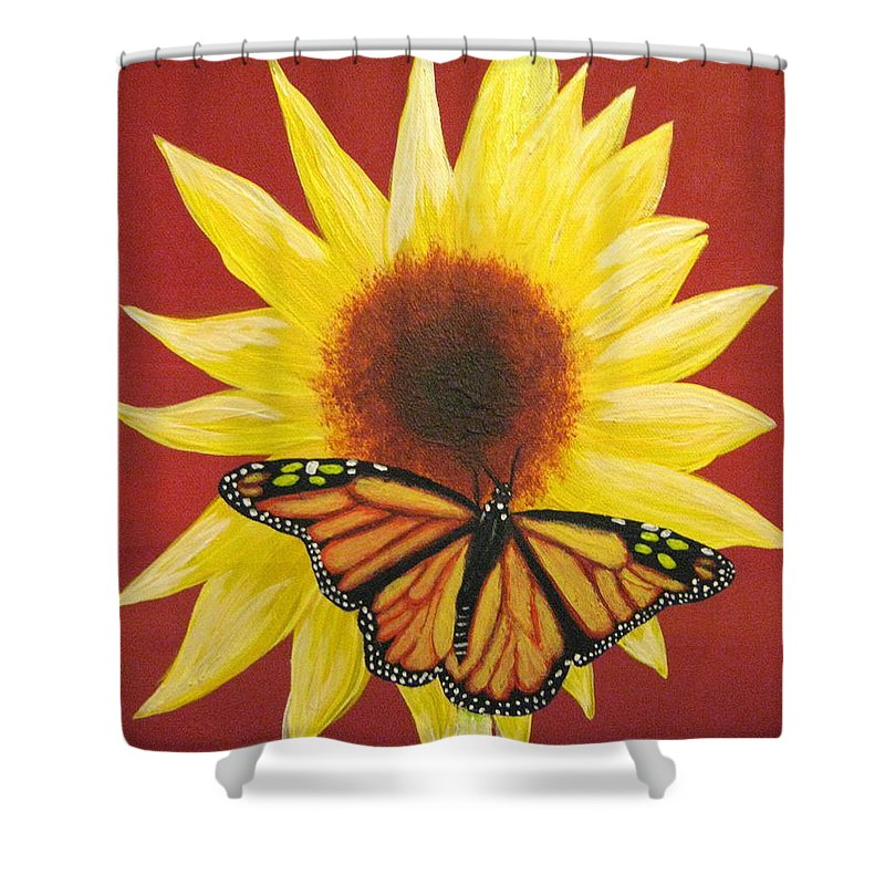 Sunflower Shower Curtain featuring the painting Sunflower Monarch by Debbie Levene
