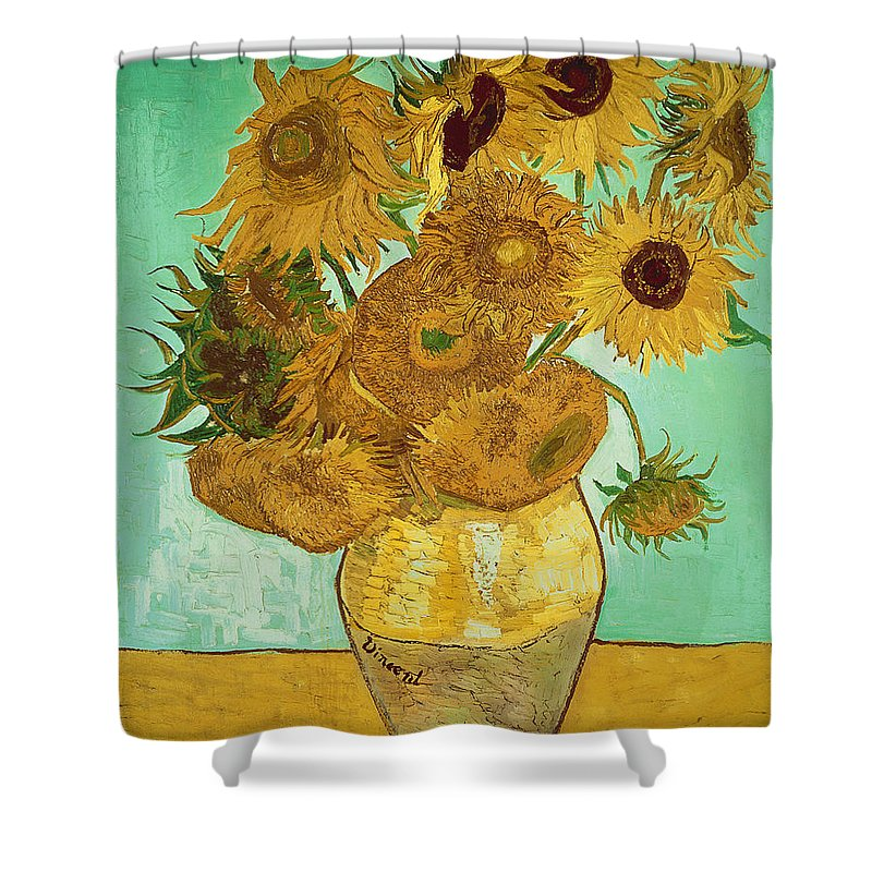 Sunflowers Shower Curtain featuring the painting Sunflowers by Van Gogh by Vincent Van Gogh