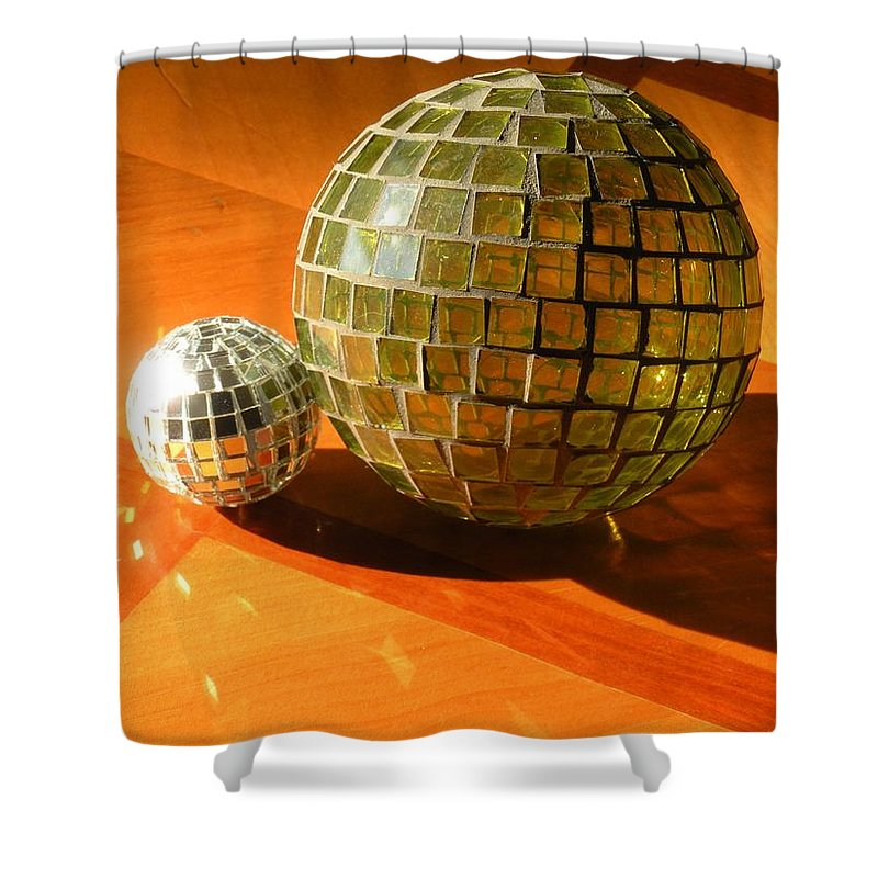 Shower Curtain featuring the photograph Sunlit Spheres by Maria Bonnier-Perez