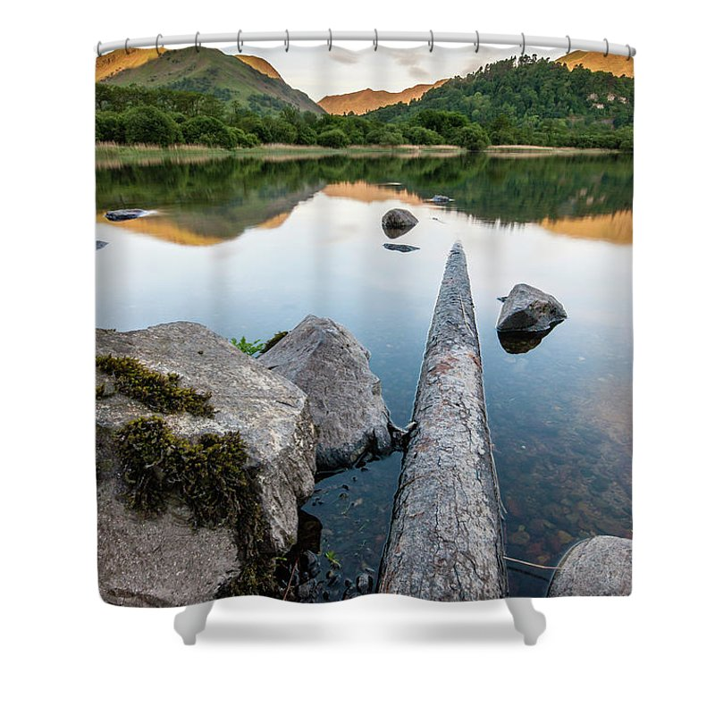 Landscape Shower Curtain featuring the photograph Sunrise at Ullswater, Lake District, North West England by Anthony Lawlor