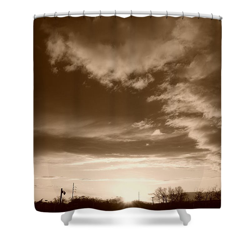 Sunset Shower Curtain featuring the photograph Sunset And Clouds by Rob Hans