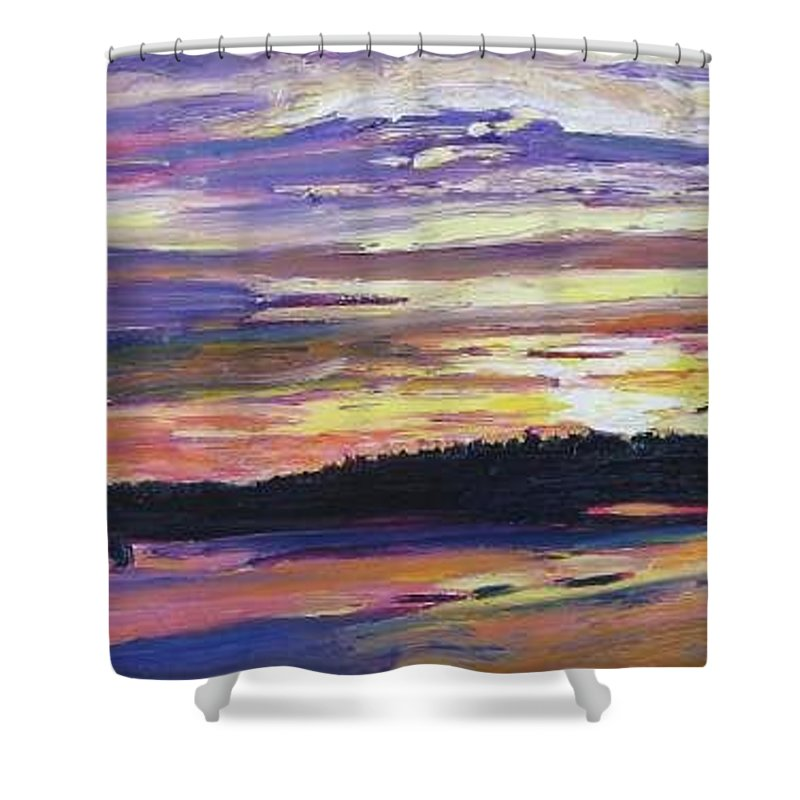 Sunset Shower Curtain featuring the painting Sunset by Richard Nowak