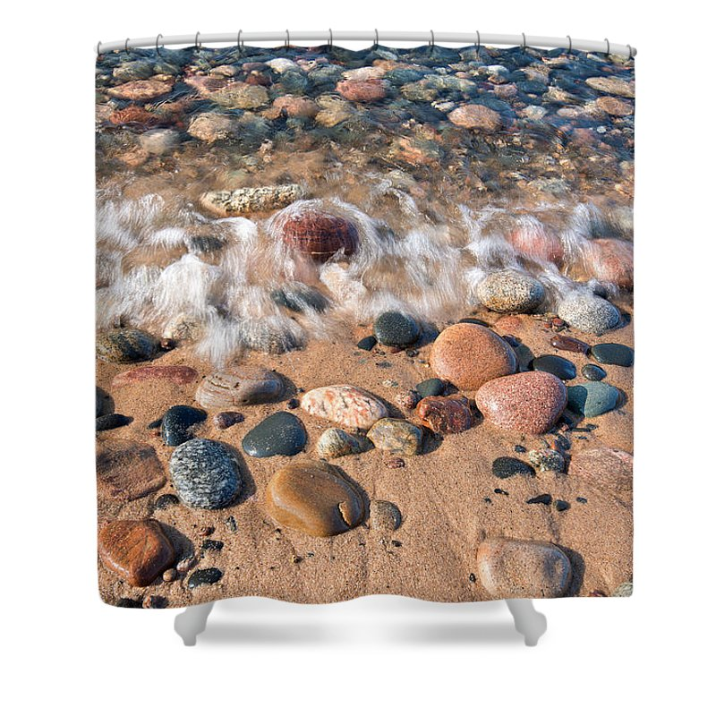 Stones Shower Curtain featuring the photograph Surf And Stones by Tim Trombley