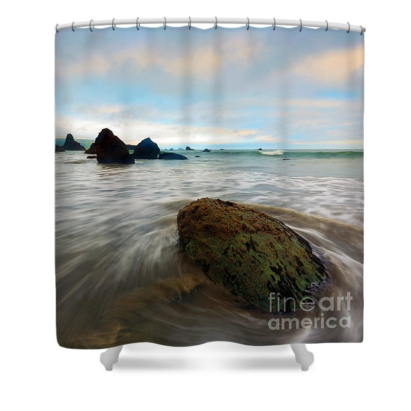 Port Orford Shower Curtain featuring the photograph Surrounded By The Tides by Mike Dawson