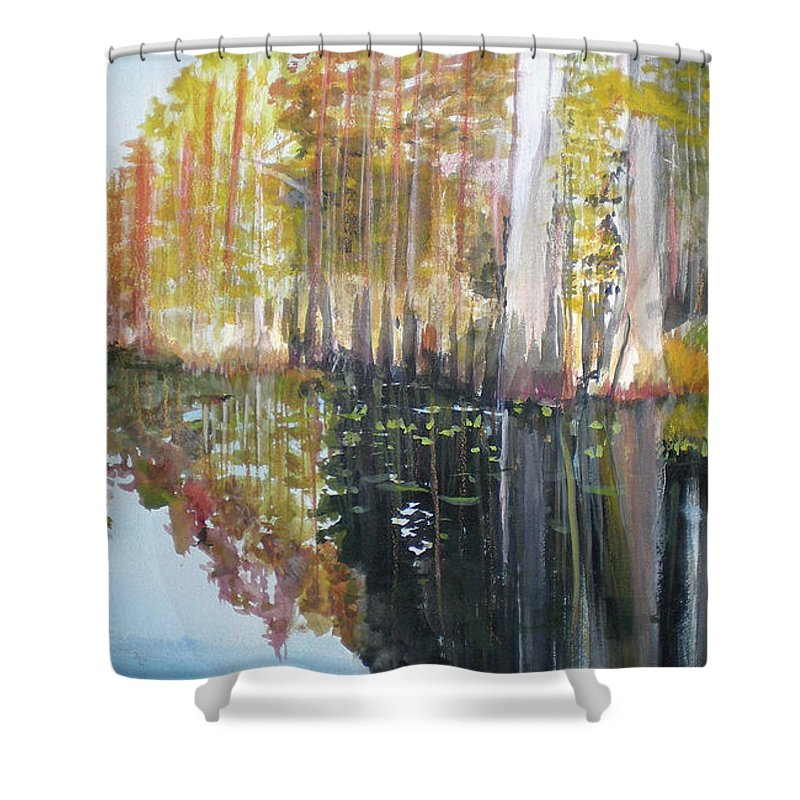 Landscape Of A South Florida Swamp At Dusk Feels Very Wild Shower Curtain featuring the painting Swamp Reflection by Hal Newhouser