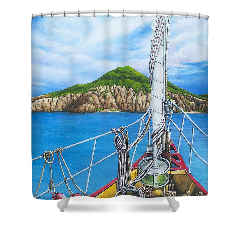 Sint Maarten Shower Curtain featuring the painting Take Me To Saba by Cindy D Chinn