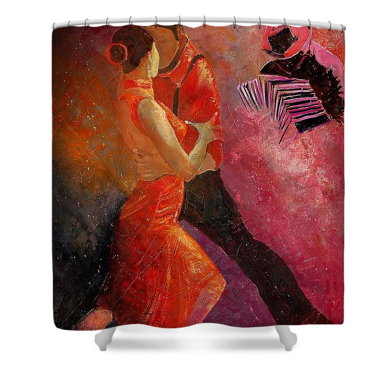 Tango Shower Curtain featuring the painting Tango by Pol Ledent