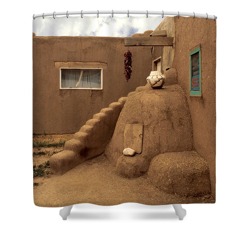 Taos Shower Curtain featuring the photograph Taos Pueblo by Jerry McElroy