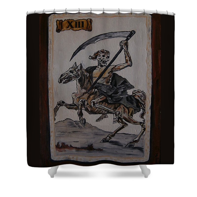 Tarot Shower Curtain featuring the painting Tarot by Deana Smith