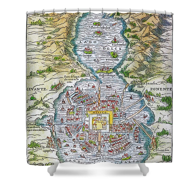 1556 Shower Curtain featuring the photograph Tenochtitlan (mexico City) by Granger