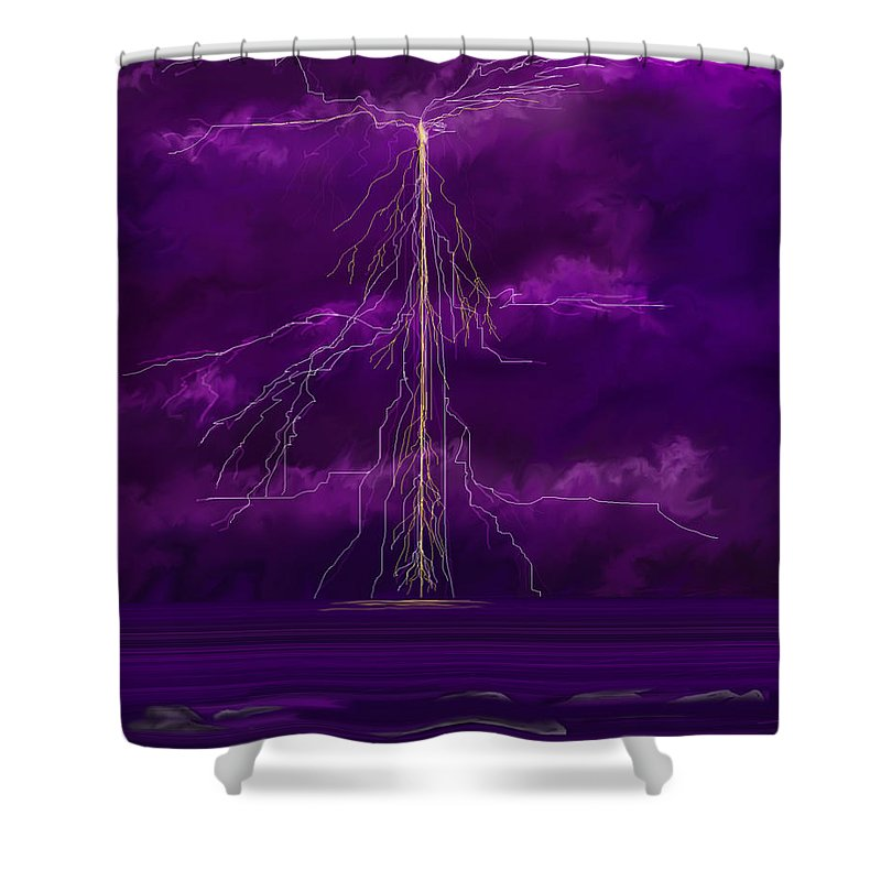 Lightning Storm Shower Curtain featuring the painting Tesla by Anne Norskog