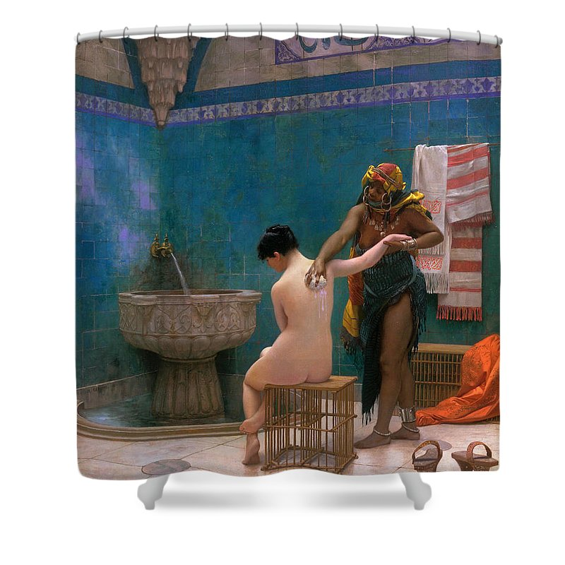 Jean-leon Gerome Shower Curtain featuring the painting The Bath by Jean-Leon Gerome