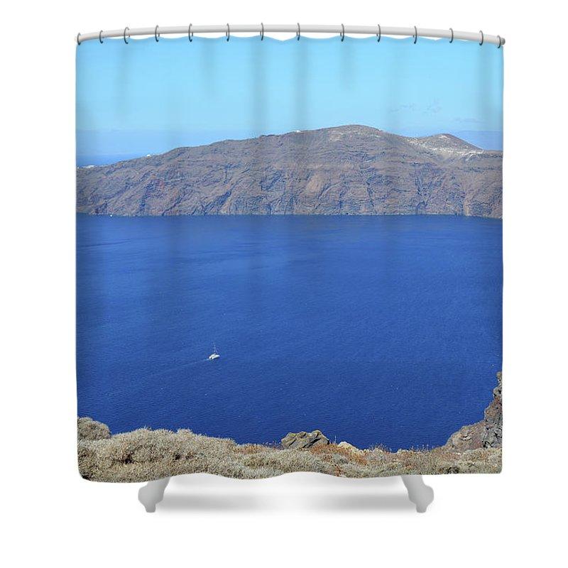 Santorini Shower Curtain featuring the photograph The Beautiful Caldera In Santorini, Greece With The Aegean Sea by Oana Unciuleanu