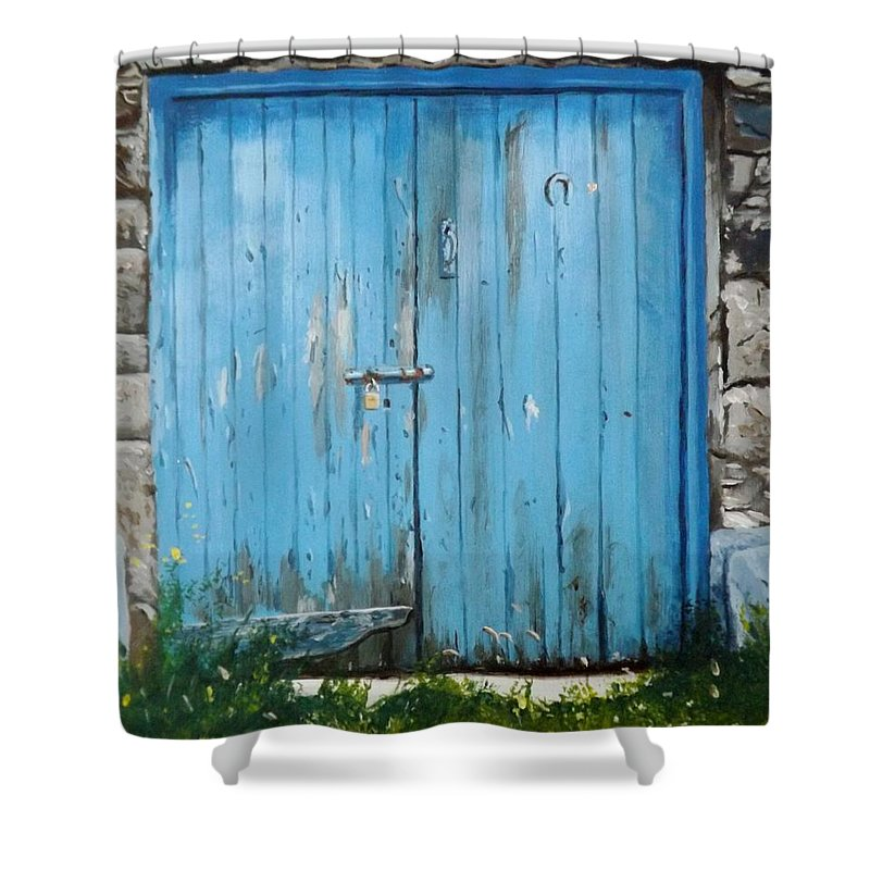 Door Shower Curtain featuring the painting The Blue Door by Tony Gunning