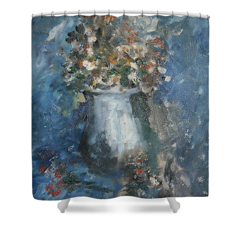 Still Life Shower Curtain featuring the painting The Blue Vase by Edward Wolverton