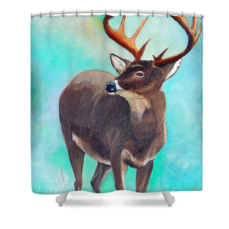 Shower Curtain featuring the painting the Buck Stops Here by Sherril Porter