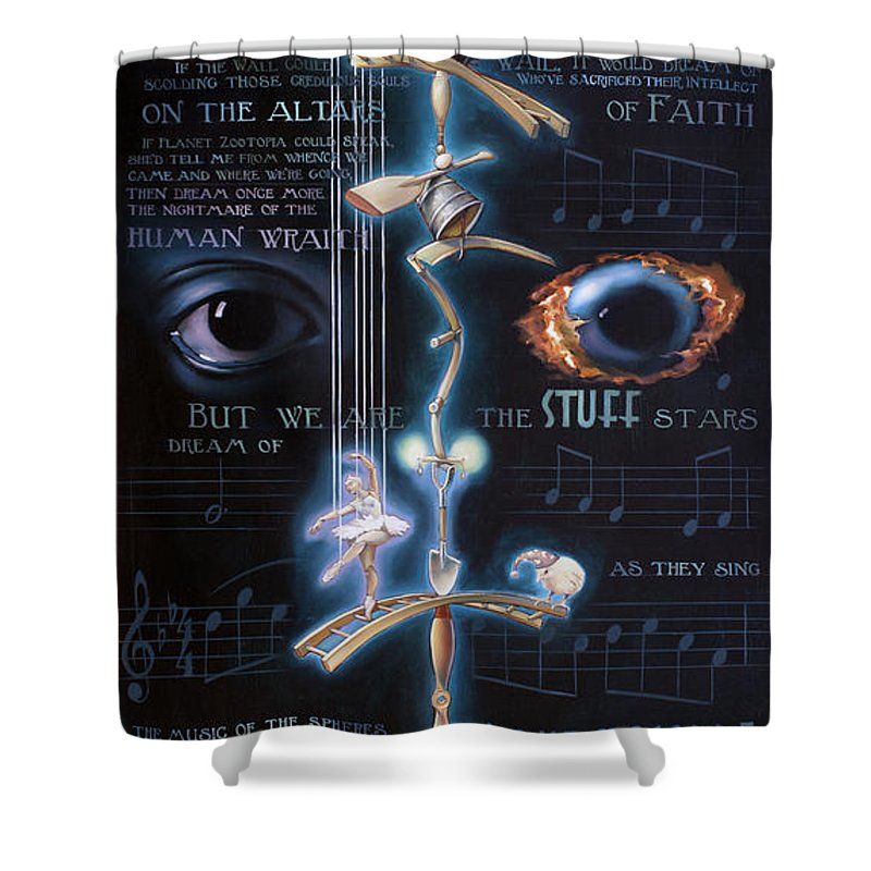 Chicken Shower Curtain featuring the painting The Danse Macabre by Patrick Anthony Pierson