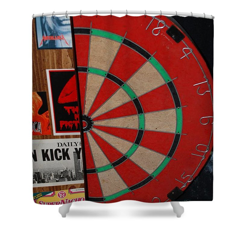 Macro Shower Curtain featuring the photograph The Dart Board by Rob Hans