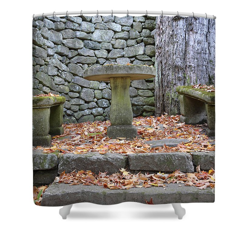 Stone Wall Shower Curtain featuring the photograph The Fells Historic Estate In Newbury Nh Usa by Erin Paul Donovan