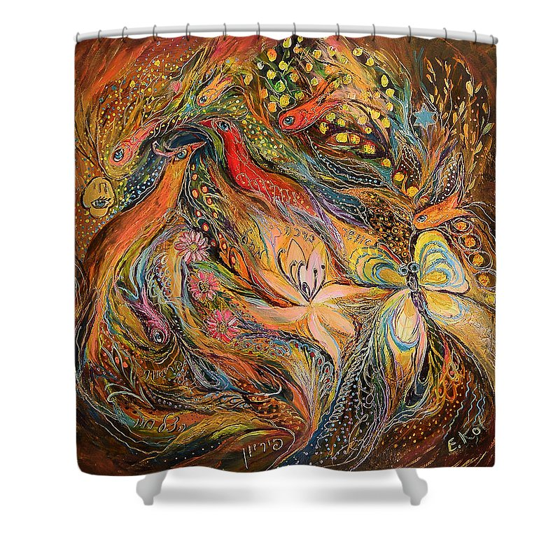Original Shower Curtain featuring the painting The Fluids Of Love by Elena Kotliarker