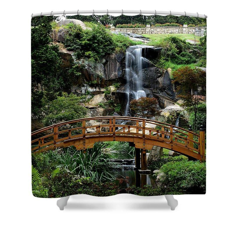 Ann Keisling Shower Curtain featuring the photograph The Garden Bridge by Ann Keisling