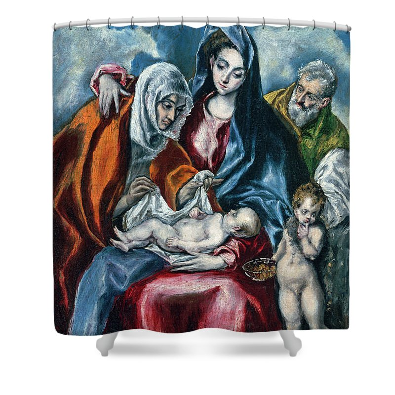 El Greco Shower Curtain featuring the painting The Holy Family With Saint Anne And The Infant John The Baptist by El Greco