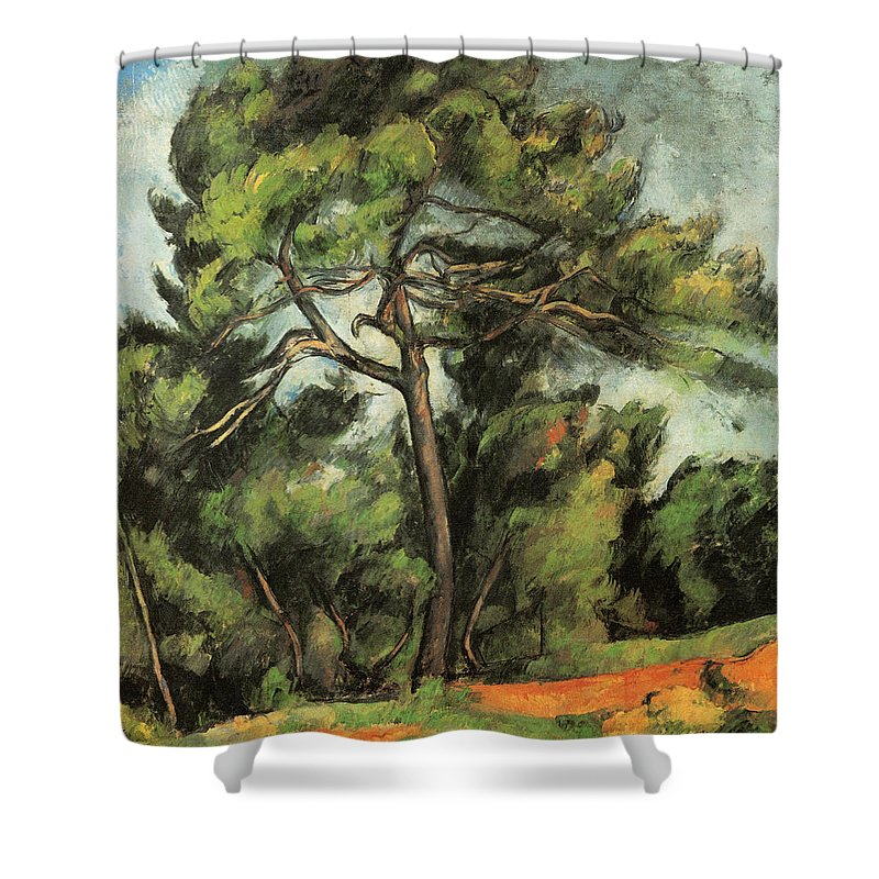 Europe Shower Curtain featuring the painting The Large Pine by Paul Cezanne