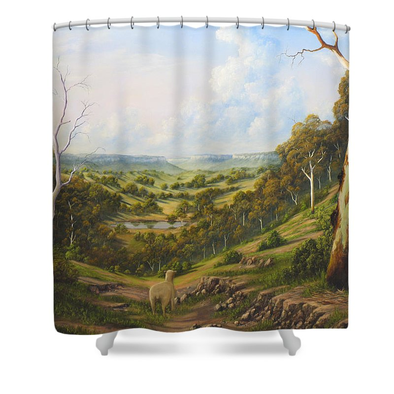 Landscape Shower Curtain featuring the painting The Lost Sheep In The Scrub by John Cocoris